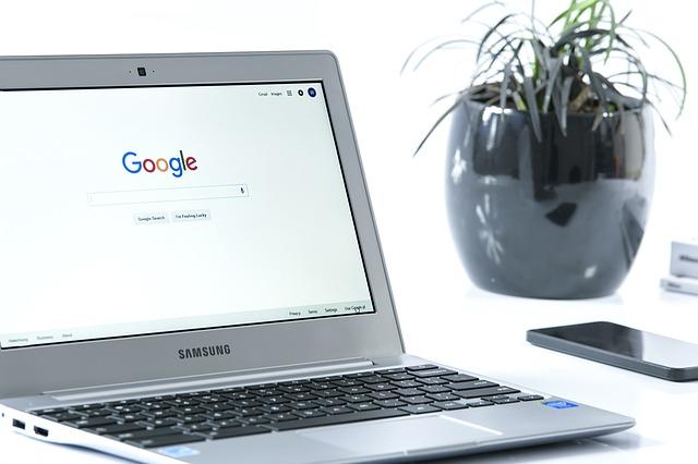 google, notebook, květina
